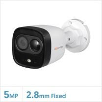 Cognitio 5MP HDCVI Fixed Lens Active Deterrence Bullet Camera (White), COG-5-AD-BUL-FW