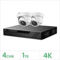 Eagle AHD CCTV Kit - 4 Channel 1TB Recorder with 2x 8MP Fixed Turret Cameras (White), E-KIT-4-2TUR-8MP-1TB