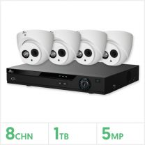 Eagle AHD CCTV Kit - 8 Channel 1TB Recorder with 4x 5MP Fixed Turret Cameras (White), E-KIT-8-4TUR-5MP-1TB