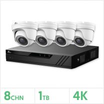 Eagle AHD CCTV Kit - 8 Channel 1TB Recorder with 4x 8MP Fixed Turret Cameras (White), E-KIT-8-4TUR-8MP-1TB