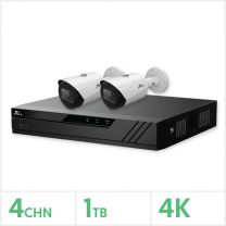Eagle IP CCTV Kit - 4 Channel 1TB NVR with 2x 8MP Fixed Bullet Cameras (White), EAG-NVR-4-2BUL-8MP-1