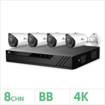 Eagle AHD CCTV Kit - 8 Channel BB Recorder with 4x 8MP Fixed Bullet Cameras (White), EAGLE-KIT-8-4BUL-8MP
