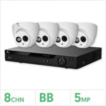 Eagle AHD CCTV Kit - 8 Channel BB Recorder with 4x 5MP Fixed Turret Cameras (White), EAGLE-KIT-8-4TUR-5MP