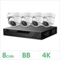 Eagle AHD CCTV Kit - 8 Channel BB Recorder with 4x 8MP Fixed Turret Cameras (White), EAGLE-KIT-8-4TUR-8MP