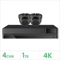 4K HD Analogue CCTV Kit - 4 Channel DVR with 1TB and 2 x  Fixed Lens Turret Cameras, KESKITHD4K-4-2