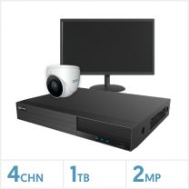 """Viper NVR Entry Level Kit - 4 Channel 1TB Recorder, 1 x Fixed Lens Turret Camera and 19"""" HD Monitor, VKIT-2MP-1E-W-19M"""