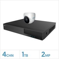 Viper NVR Entry Level Kit - 4 Channel 1TB Recorder with 1 x 2MP Fixed Lens Turret Camera (White), VKIT-2MP-1E-W
