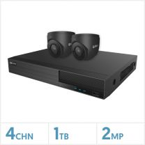 Viper NVR Kit - 4 Channel 1TB Recorder with 2 x 2MP Fixed Turret Cameras (Grey), VKIT-2MP-2E-G