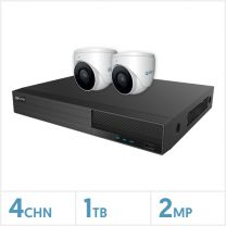 Viper NVR Kit - 4 Channel 1TB Recorder with 2 x 2MP Fixed Turret Cameras (White), VKIT-2MP-2E-W