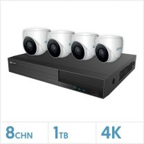 Viper NVR Kit - 8 Channel 1TB Recorder with 4 x 4K Fixed Turret Cameras (White), VKIT-4K-4E-W