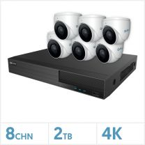 Viper NVR Kit - 8 Channel 2TB Recorder with 6 x 4K Fixed Turret Cameras (White), VKIT-4K-6E-W